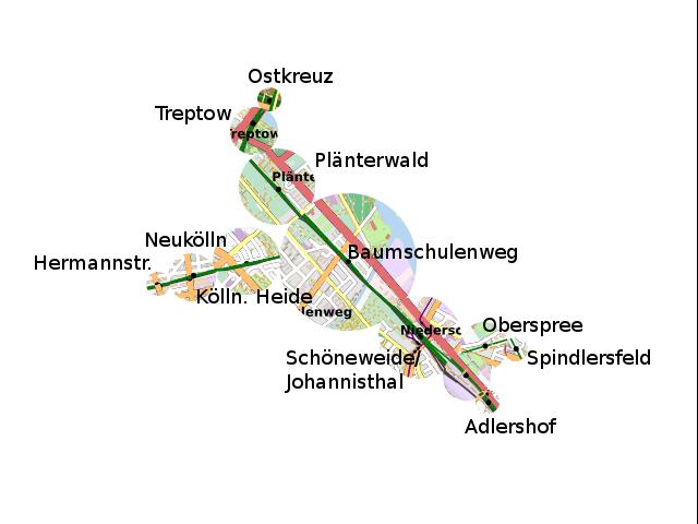 Fahrtzeitkarte vom S-Bhf Baumschulenweg aus gesehen, 10 Min für S-Bahn und zu fuß