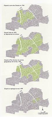 carte des murs à pêches de 1764 à 1999 |<b><a href='http://m2pat.urouen.free.fr/bacquhel/?page_id=256' target='_blank' >source</a></b>